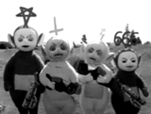 Metal Teletubbies WTF Pinterest - Teletubbies in black and white is terrifying
