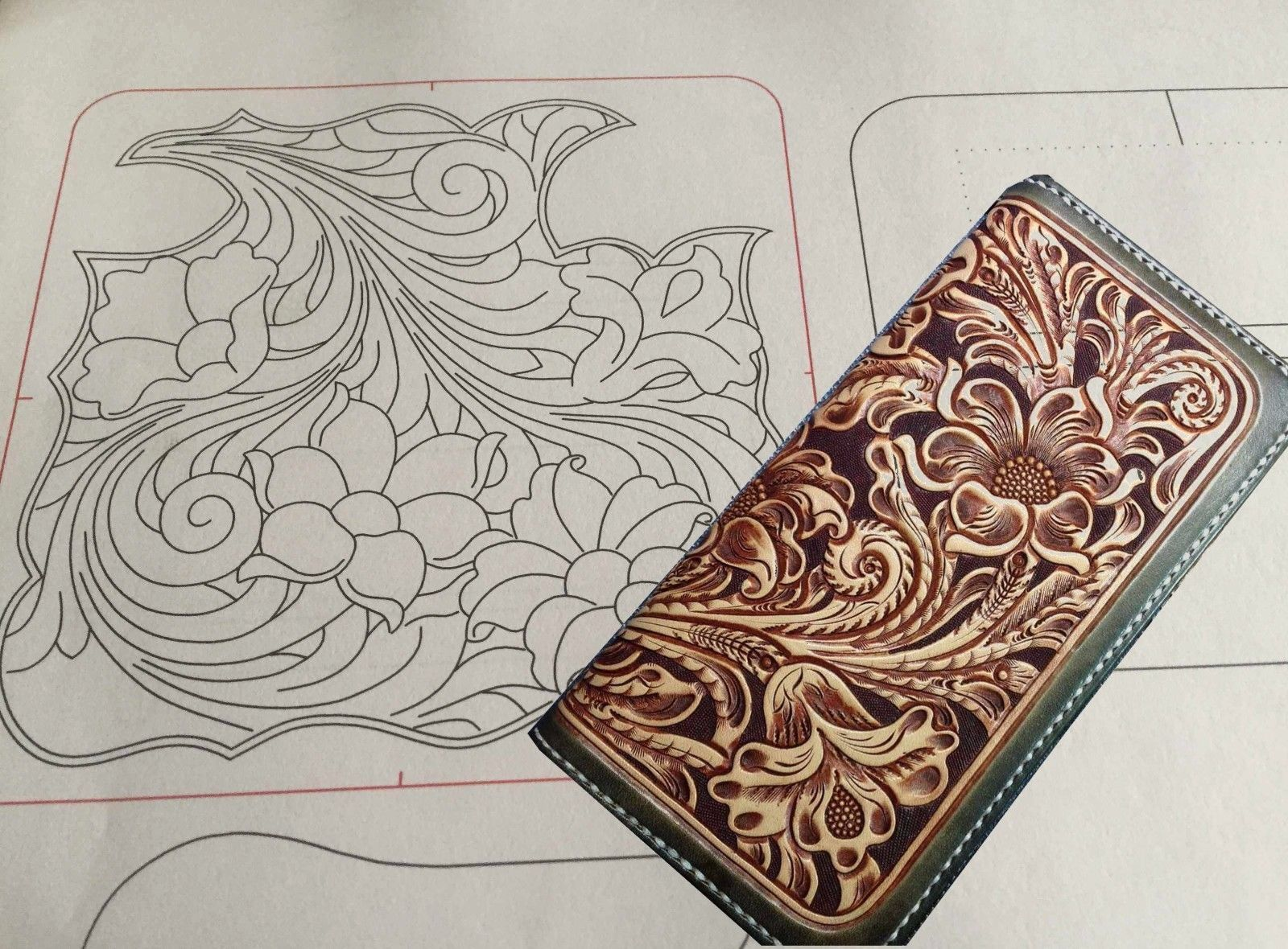 Details About Leather Craft Patterns Diy Designs Long Wallet Paper