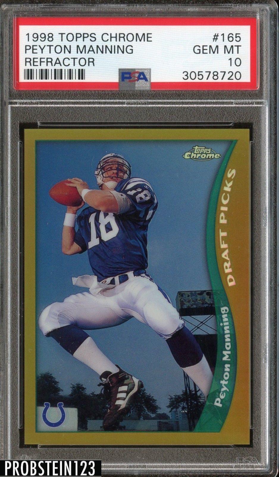1998 topps chrome refractor 165 peyton manning rc rookie