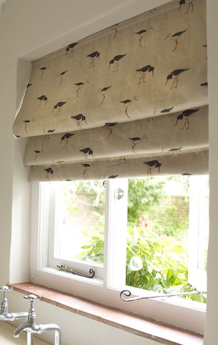 Emily bond 39 oyster catcher 39 fabric roman blind stuff for Fabric shades for kitchen windows