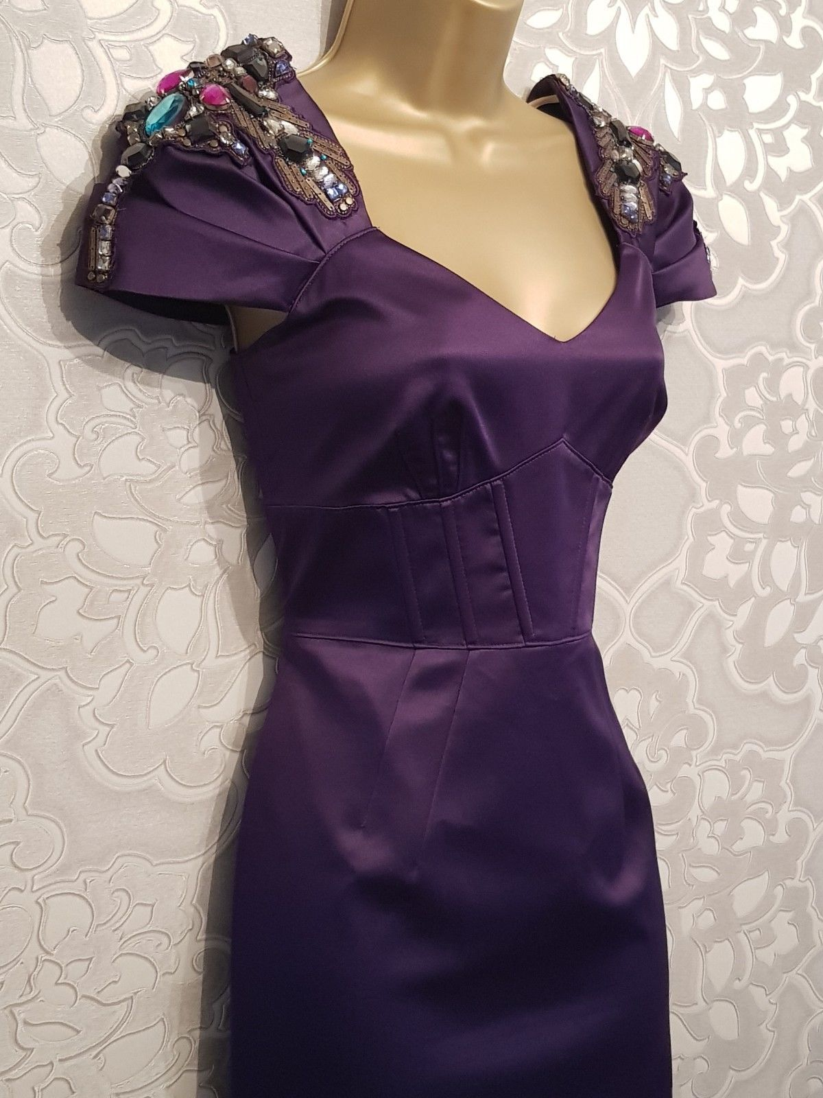 810ff82ae61334 Karen Millen Vintage Style Jewel Embellished Purple Satin Wiggle Dress Size  10