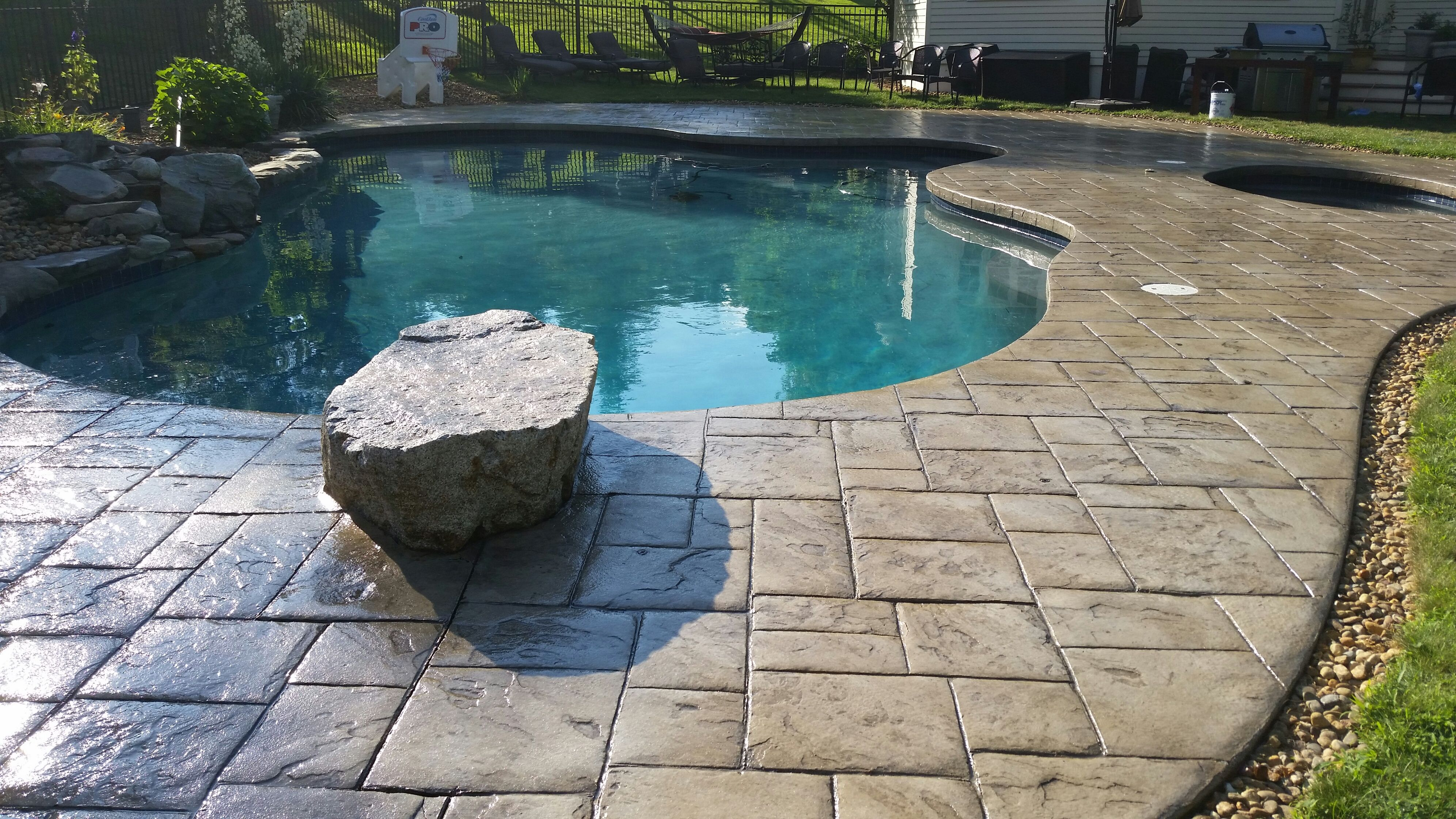 Wet Look Stamped Concrete Pool Deck Sealed With Foundation Armor