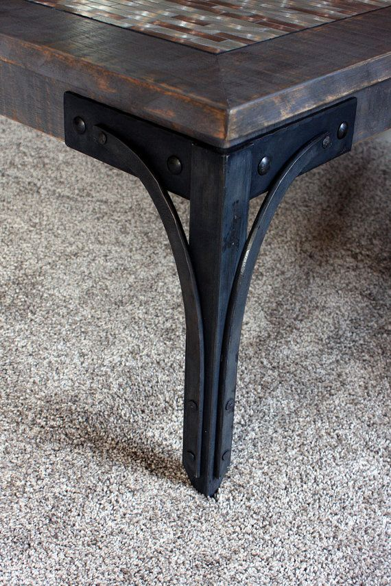 Coffee Table Aluminum Mosaic With Steel Legs Piper S Mettle Distressed Gray Finish Handmade
