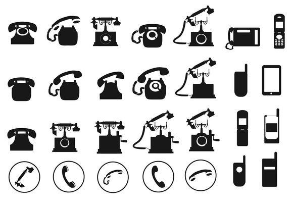 Vector Telephone Icons Set Icon Set Stencil Printing Telephone Drawing