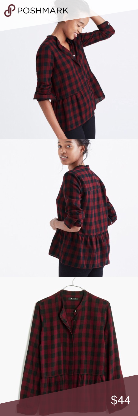 fa42d4a5a Madewell | Buffalo Check Peplum sz M EUC. No flaws, no signs of wear.  Cotton fabric. Pit to pit: 19.5in Top to hem: 23in Madewell Tops Button  Down Shirts