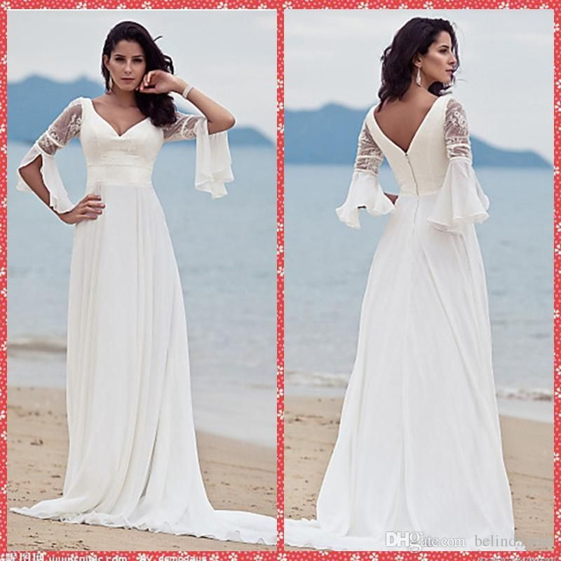 Fitted A Line Wedding Dress V Neck Half Sleeve A Line Wedding Dresses 2015 Custom Beach Court Train Chiffon Bridal Gowns Zipper Back Vestidos De Novia Gown Wedding Dresses From Belindajune, $93.2| Dhgate.Com