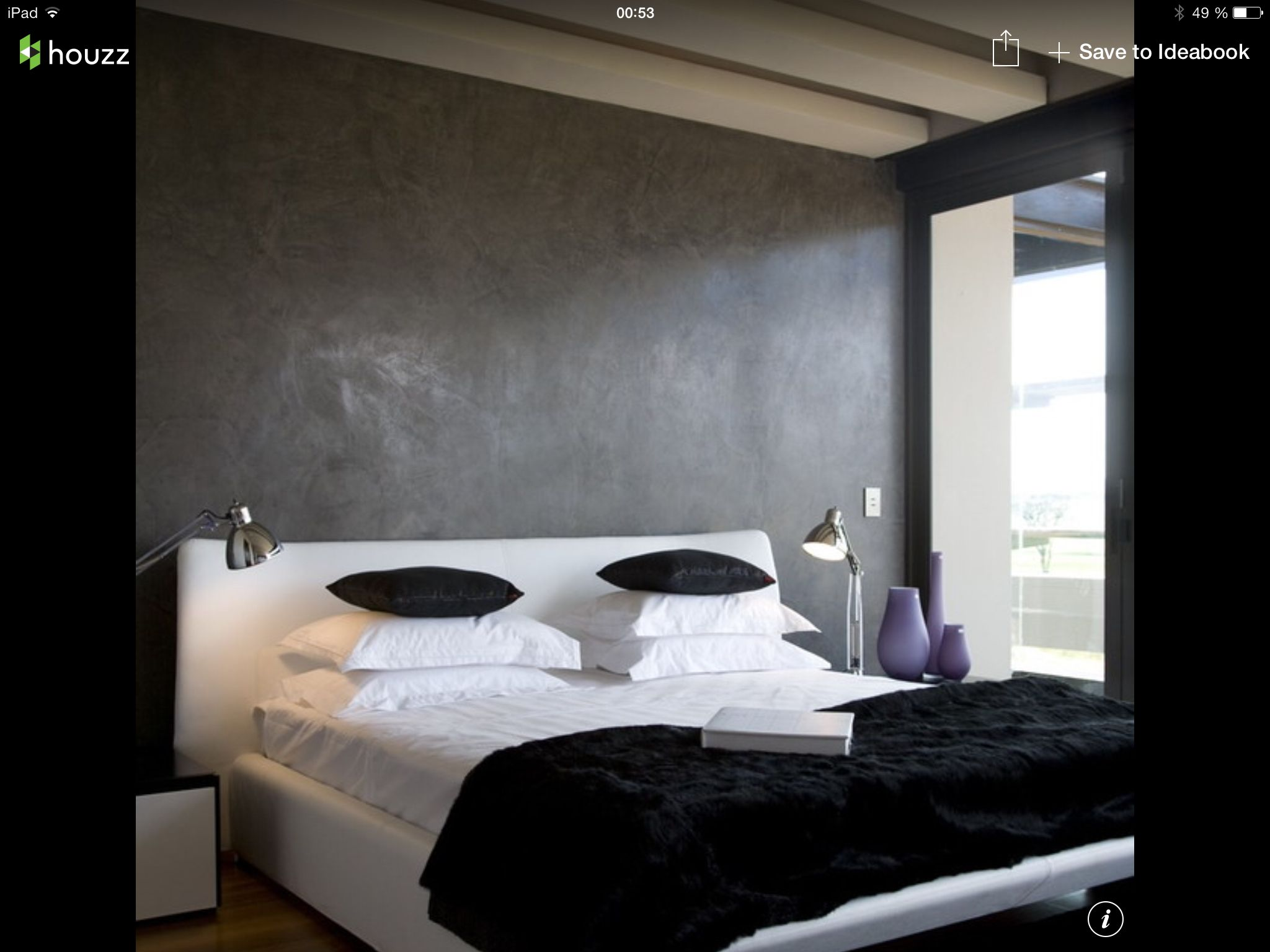 Concrete wall in bedroom mur faux finis béton dans une chambre
