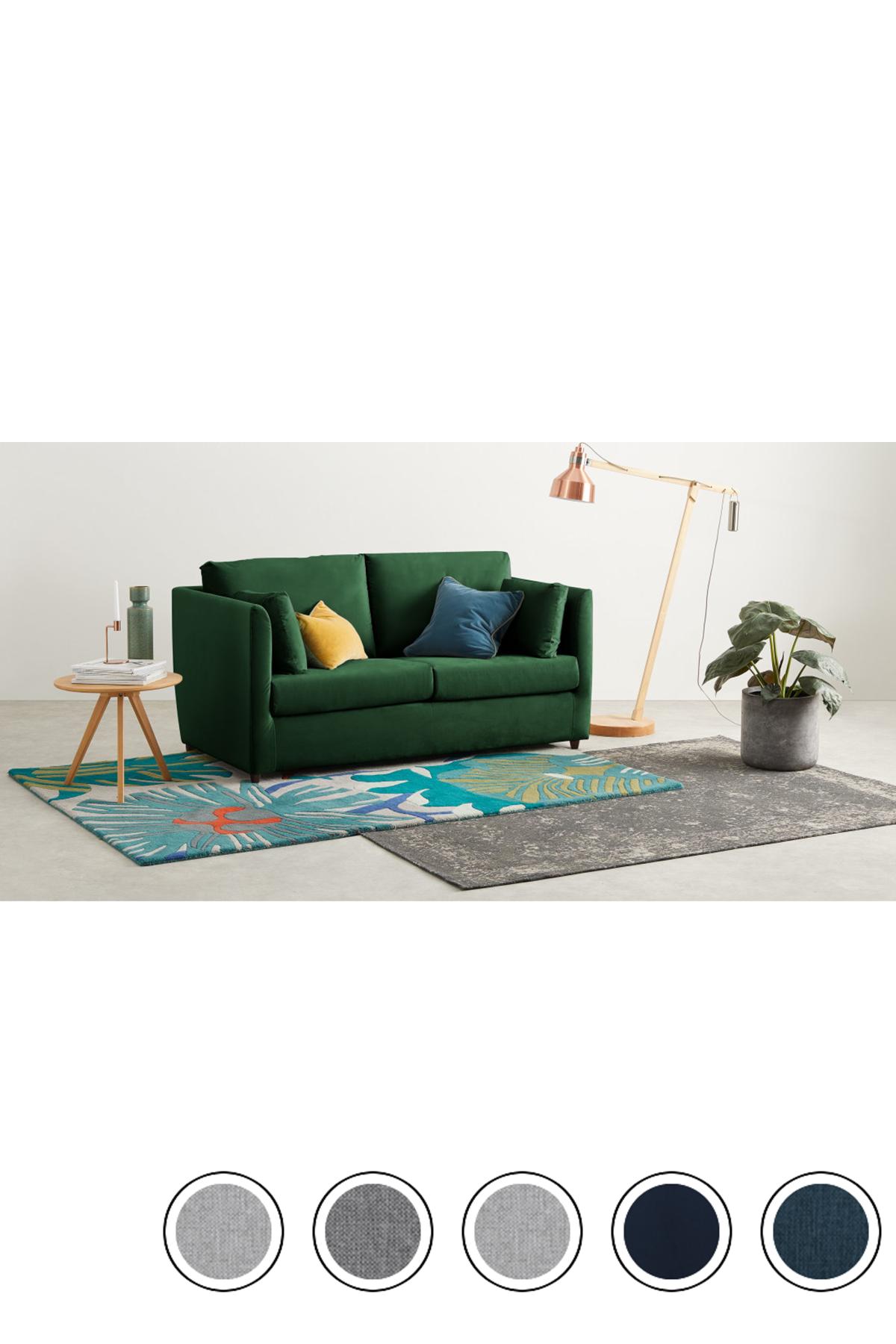 MADE Bottle Green Velvet Sofa bed Foam mattress, Sofa