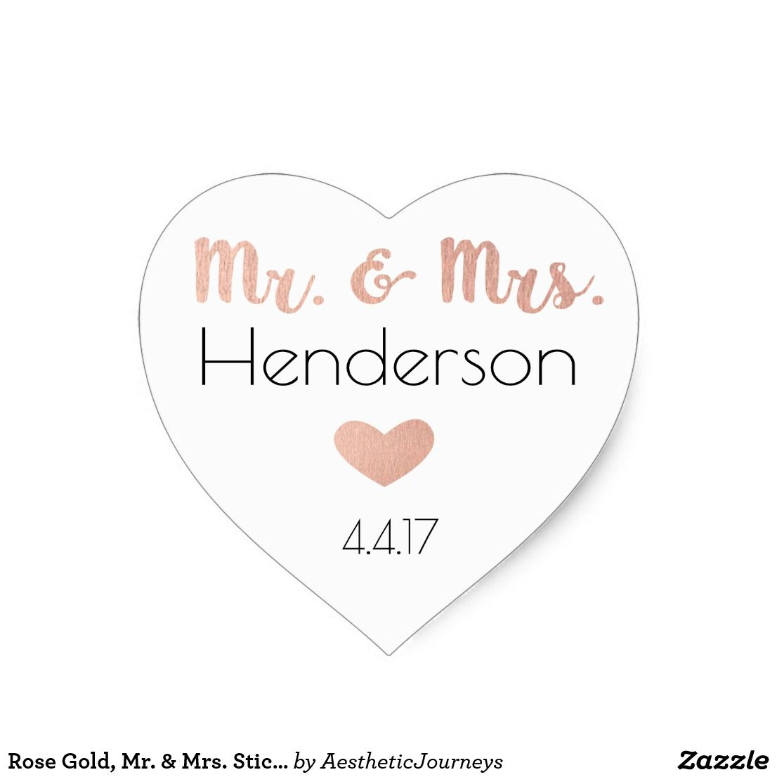 Rose Gold, Mr. & Mrs. Stickers- Wedding Favors Heart Sticker ...