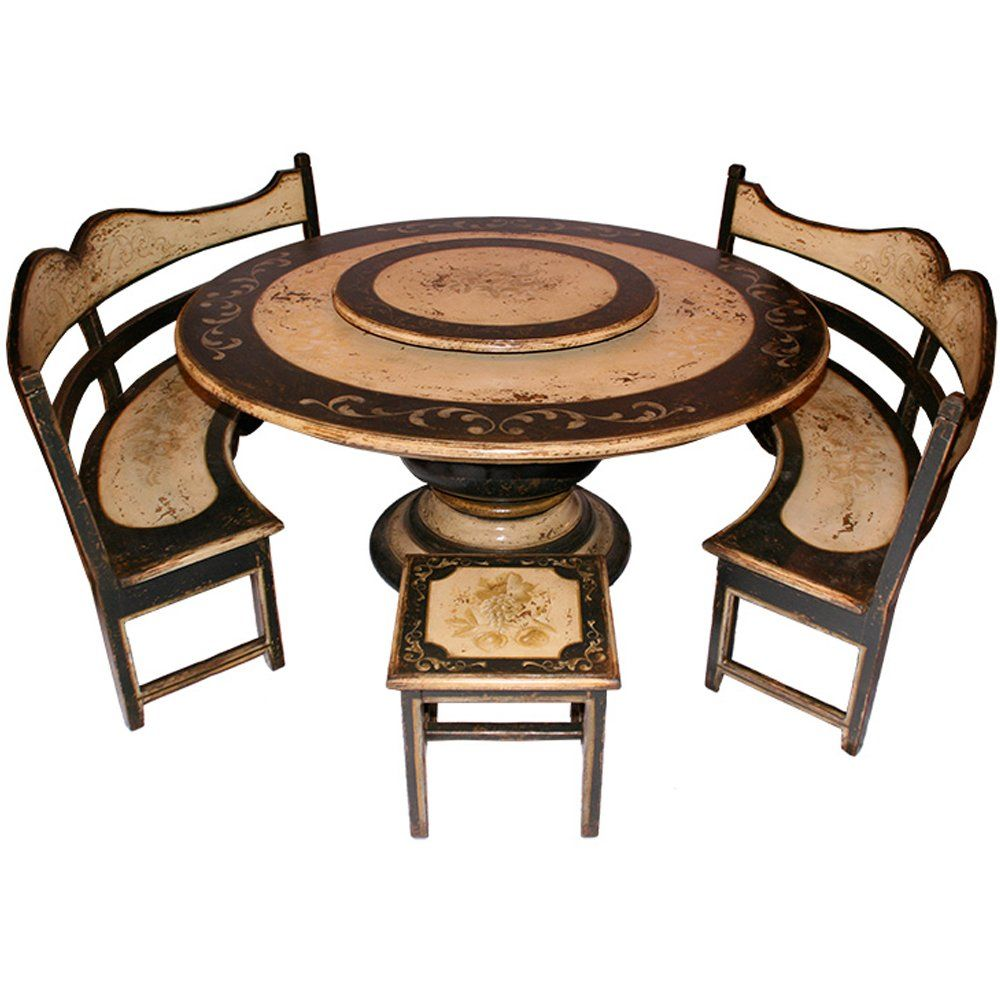 Black pedestal dining table and benches set table and