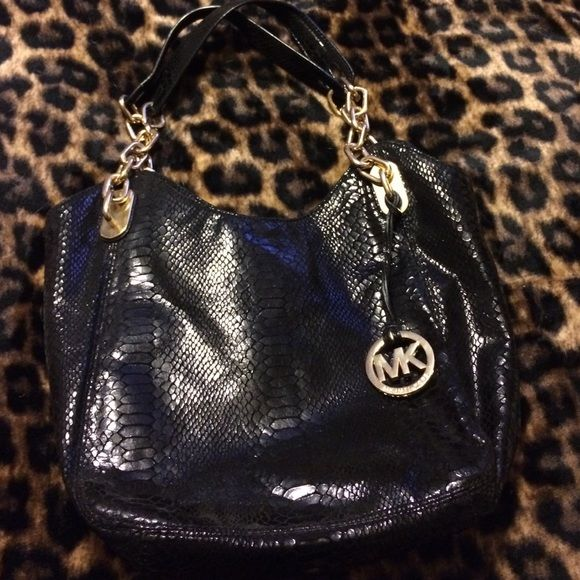 Black Michael Kors Bag Black Snake Skin Print Michael Kors Bag Gold Chains On Straps Brand New Used Once Michael Kors Bags Shoulder Bags