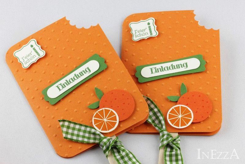 Einladungskarten   4 Einladungskarten Eis Am Stiel Orange   Ein  Designerstück Von Inezza Geschenke Bei