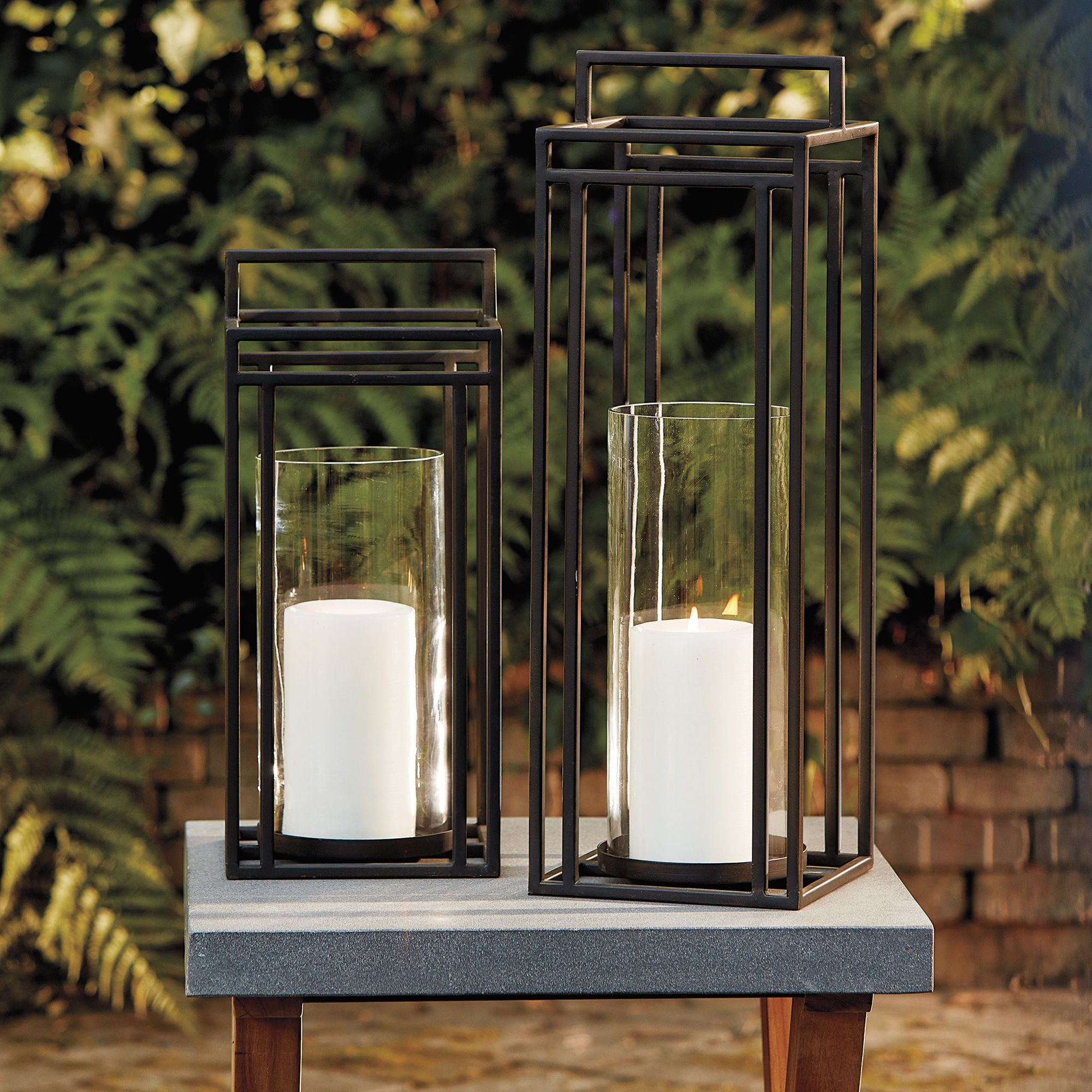 Theo Glass And Iron Candle Lantern In 2021 Candle Lanterns Outdoor Candles Iron Candle