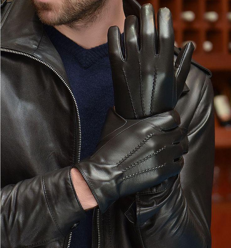 Men's black leather gloves