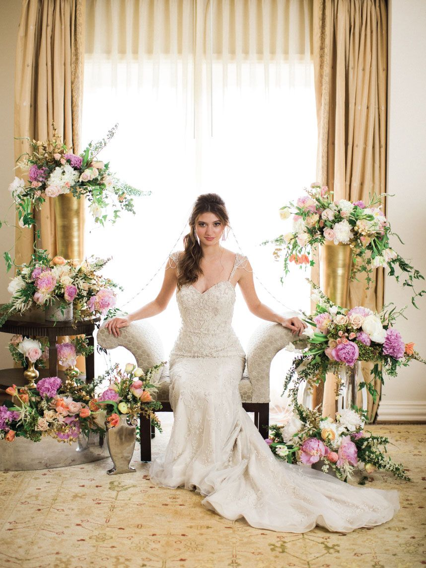 The Suite Life // Gown from The Blushing Bride Boutique. Hair + makeup by Randee Strand Artistry. Venue: Rosewood Mansion on Turtle Creek. Planner, stylist & florist: Tami Winn Events. Photo taken by Allen Tsai Photography. #bridesofnorthtx #bridal #bride #gown #wedding