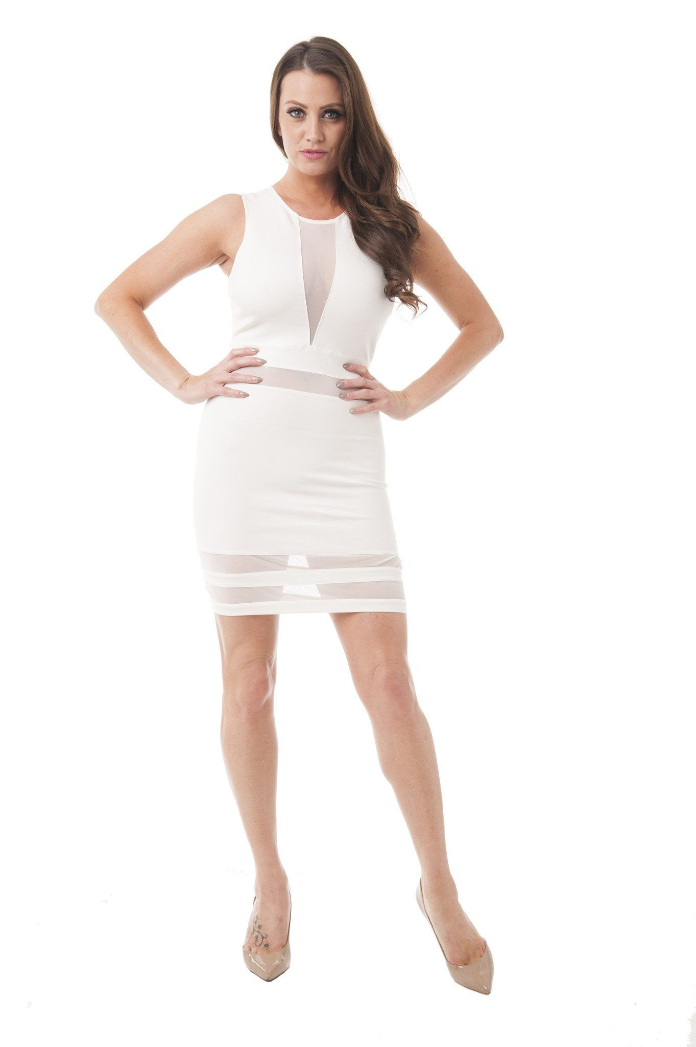 e0382e1b32 This dress features open mesh back and it s super stretchy. Perfect for any  occasion. Click here to review our size chart - Deep V Mesh Dress -  Imported ...
