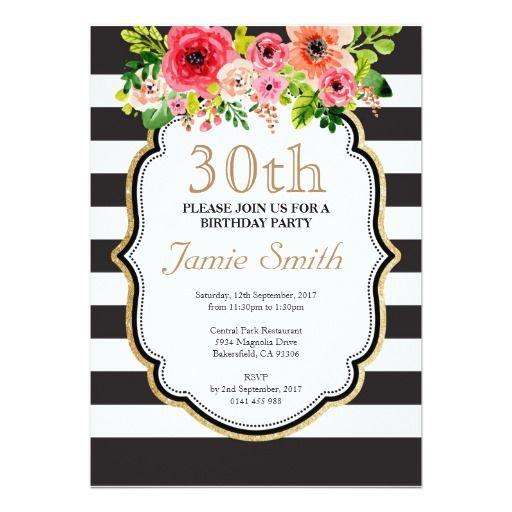 Watercolor Flower Black And White Stripe Birthday Adult Birthday - Black and white striped birthday invitations