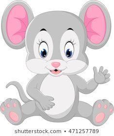 Cute mouse cartoon waving   Рисунки кроликов, Детские ...