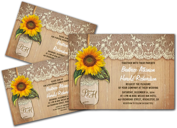 Wedding Invitations Country Theme: Vintage Rustic Sunflower Mason Jar