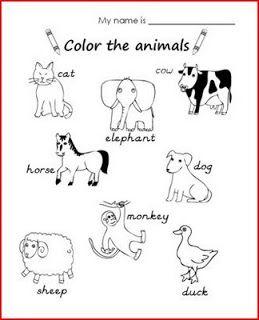Fichas de Inglés para niños: Fichas de animales en inglés