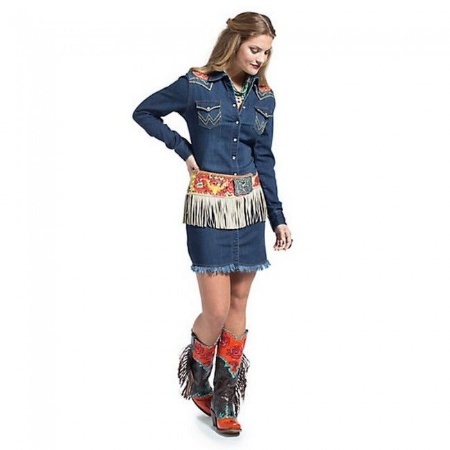 daa1e40894e4 Shop Womens Dresses and Skirts at Wrangler®. LS DARK DENIM SNAP SHIRT DRESS  - western boots