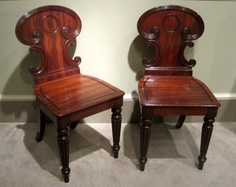 A Pair of Regency Hall Chairs-A fine pair of Regency period solid mahogany  hall - A Pair Of Regency Hall Chairs-A Fine Pair Of Regency Period Solid