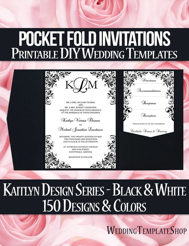 Pocket Fold Wedding Invitations Kaitlyn Black White 5x7 | Pocketfold ...