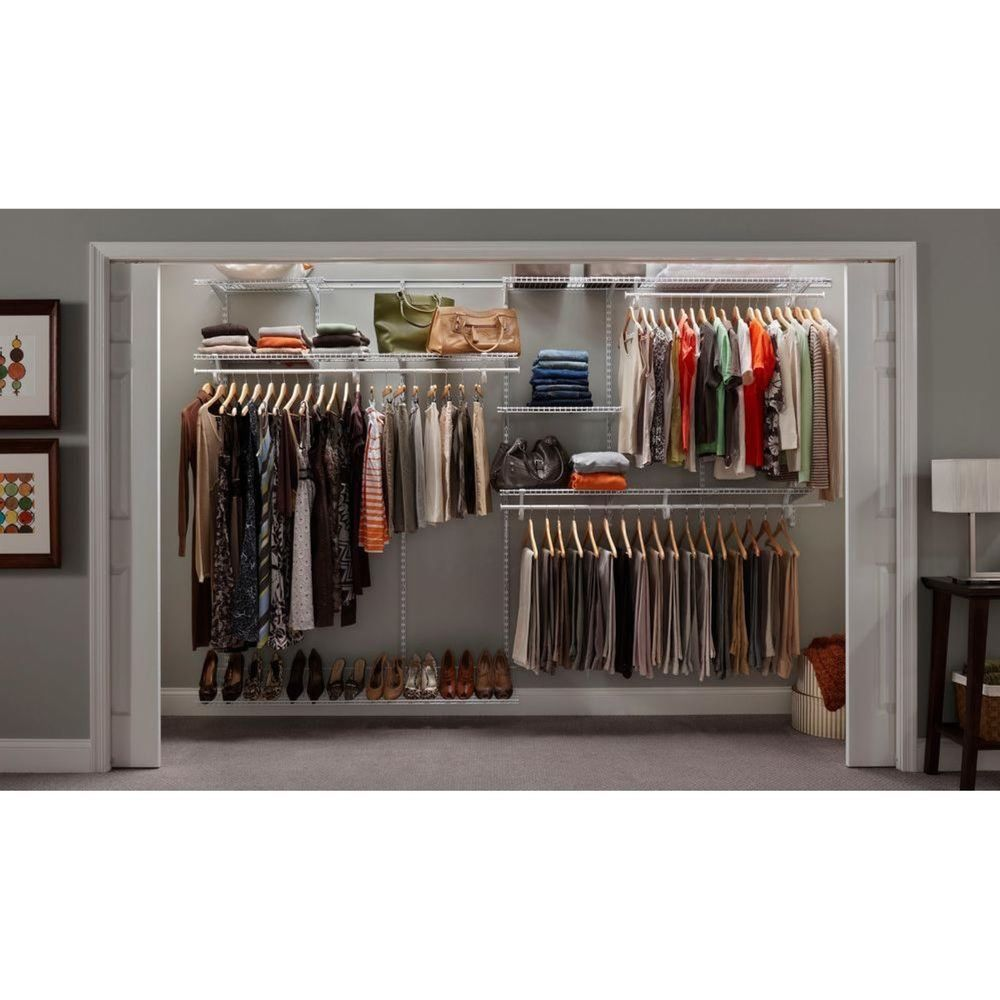 Closet Organizer System Kit ShelfTrack 7u0027 X 10u0027 White Metal Wire ClosetMaid