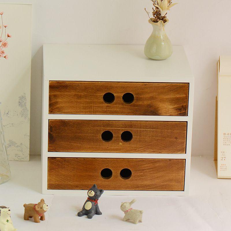 Diy wooden box cosmetic drawer makeup organizer case