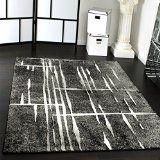 Designer Teppich Modern Trendiger Kurzflor Teppich in Grau Schwarz Creme Meliert Grösse:160220 cm