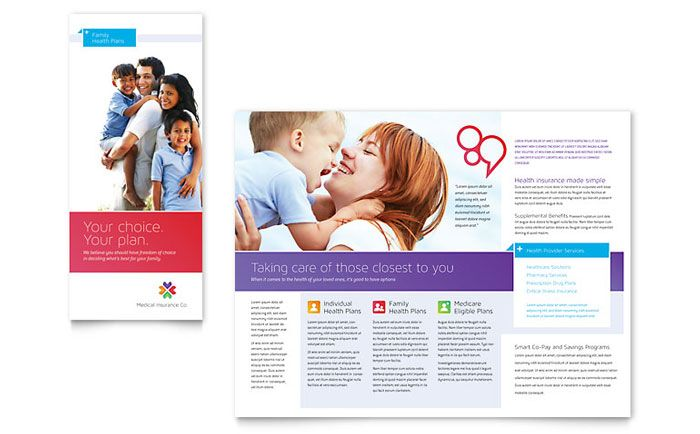 Unfold To Menu Idea Medical Insurance Brochure Template Design By