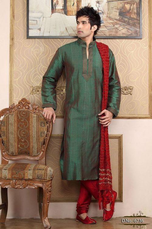 Green & Red Pintex Kurta Pajama | Mens Kurta Pyjama | kurta ...