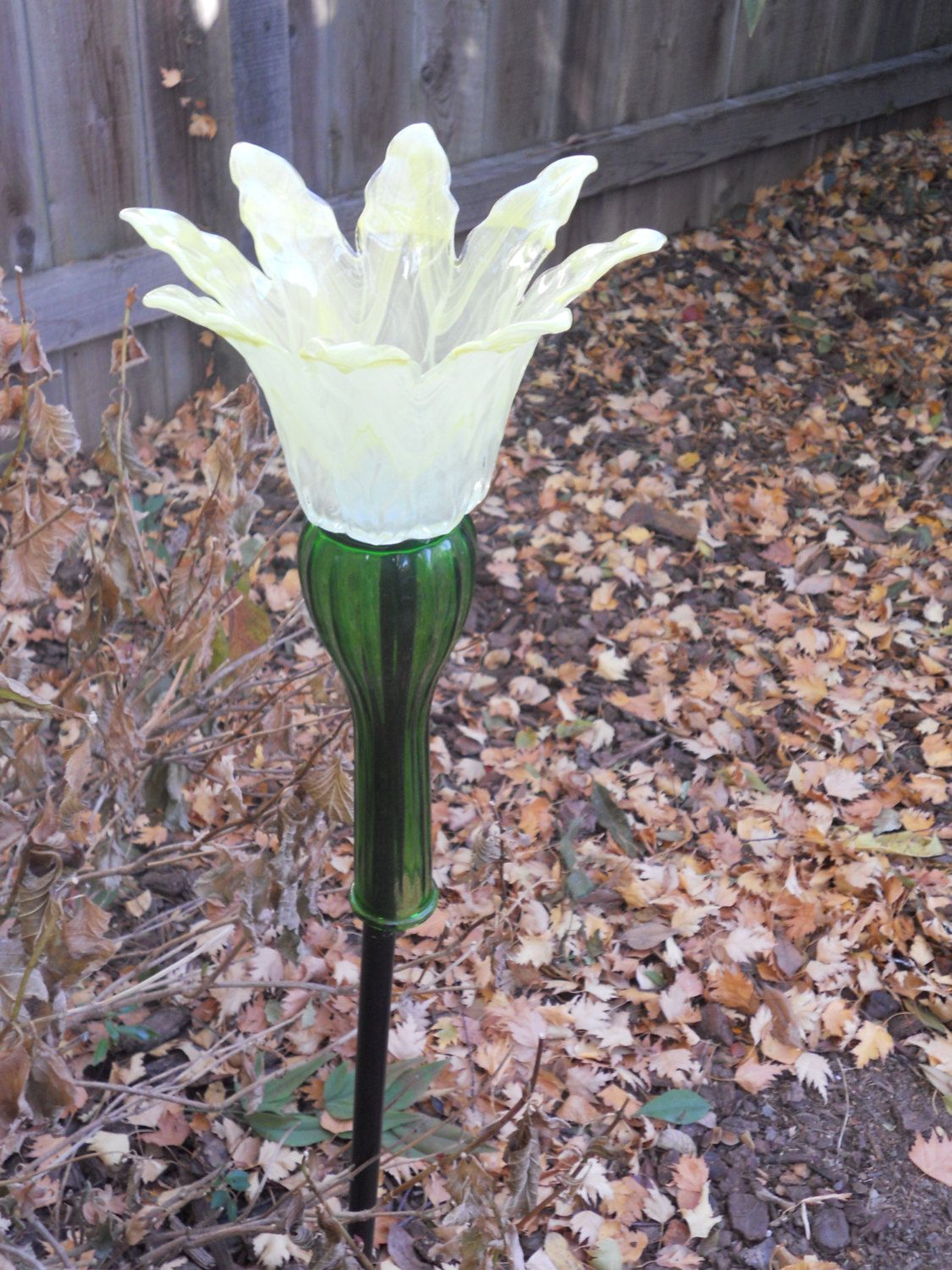 Yellow glass flower recycled yard art by reusemagic on for Recycled glass flowers