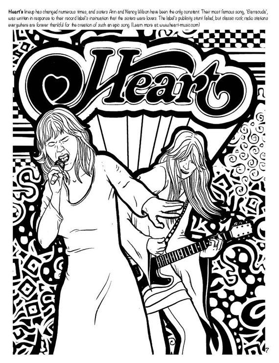 Heart Coloring Book Page From The Girls Rock On Etsy A That Features Female Musicians