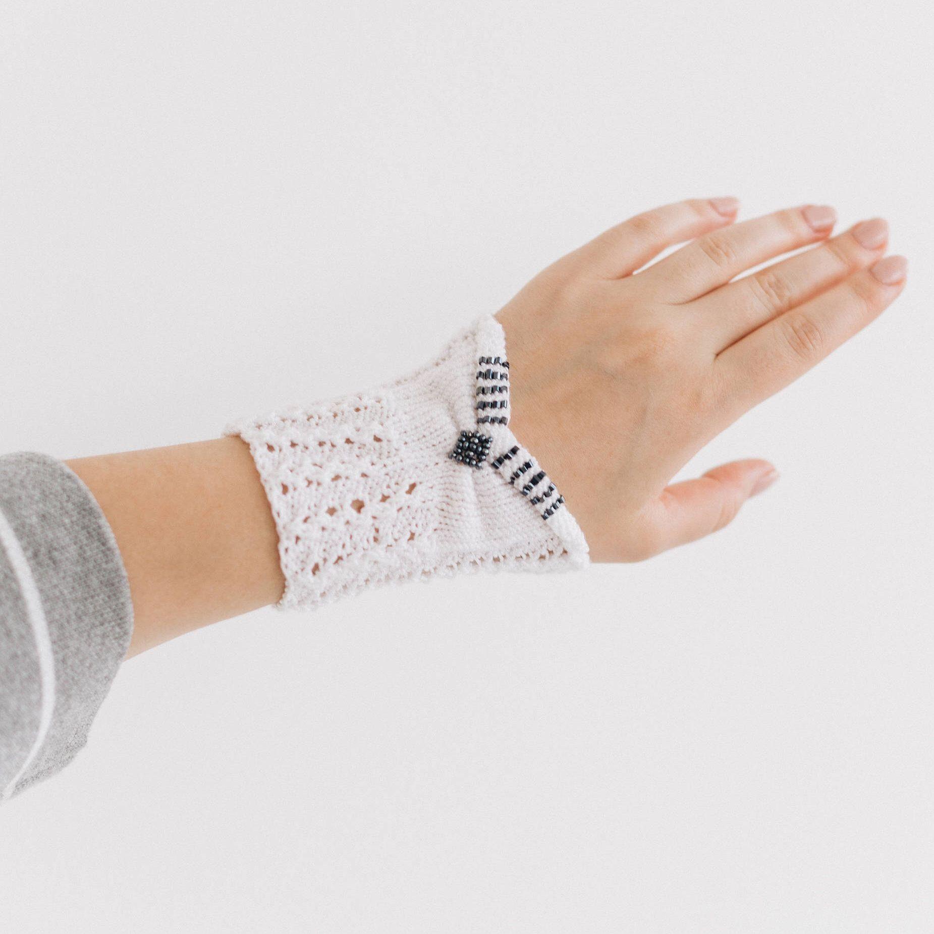 White gothic bracelet for women knit bracelet gift hand knit arm