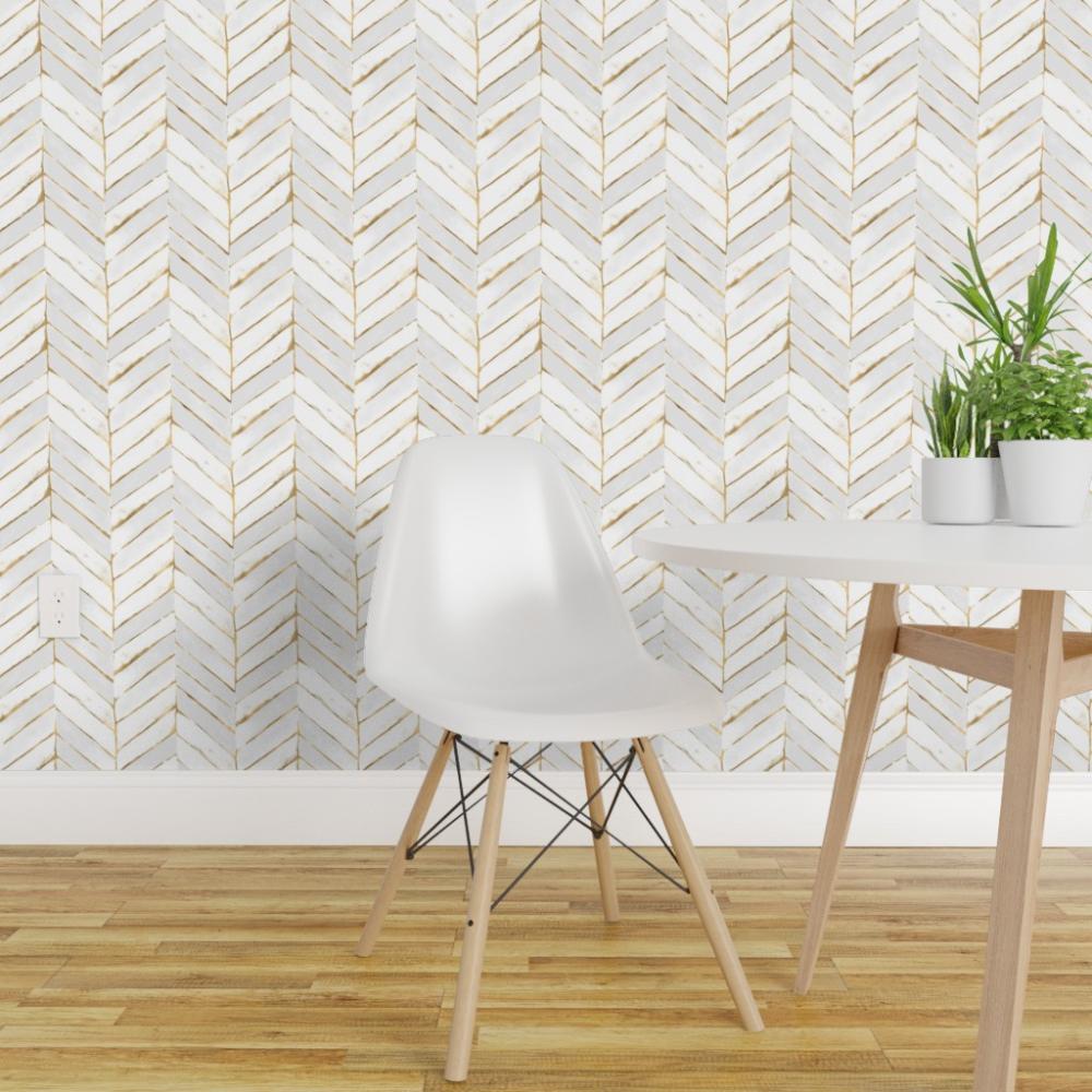 Peel And Stick Removable Wallpaper Chevron White Stripe Herringbone Mod Gold Walmart Com Chevron Wallpaper Removable Wallpaper Wallpaper Roll