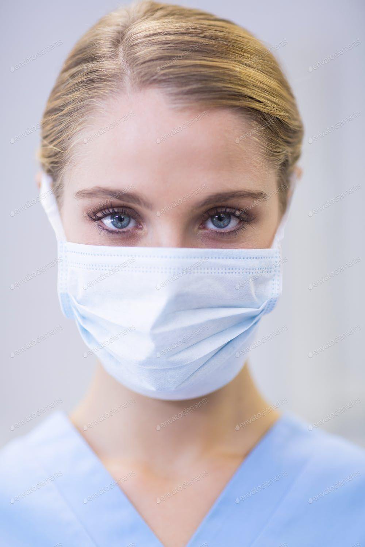 By Of Wavebreakmedia Wearing Nurse Female Mask Surgical Portrait