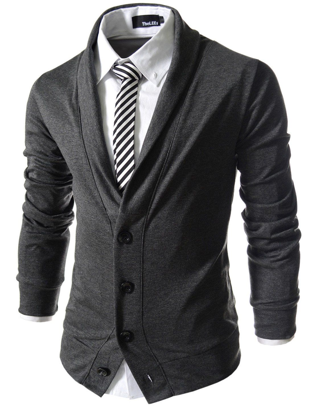 TheLees (GD132) Mens Slim Fit Collar Point Button Cardigan ...