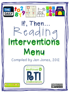 "RTI: ""If, Then"" Reading Interventions Menu  If your student struggles with this... then try this list! Very resourceful. FREE   # Pin++ for Pinterest #"