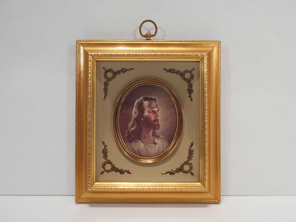 Vintage Jesus Christ Picture Turner 3D Wall Accessory Gold Catholic ...