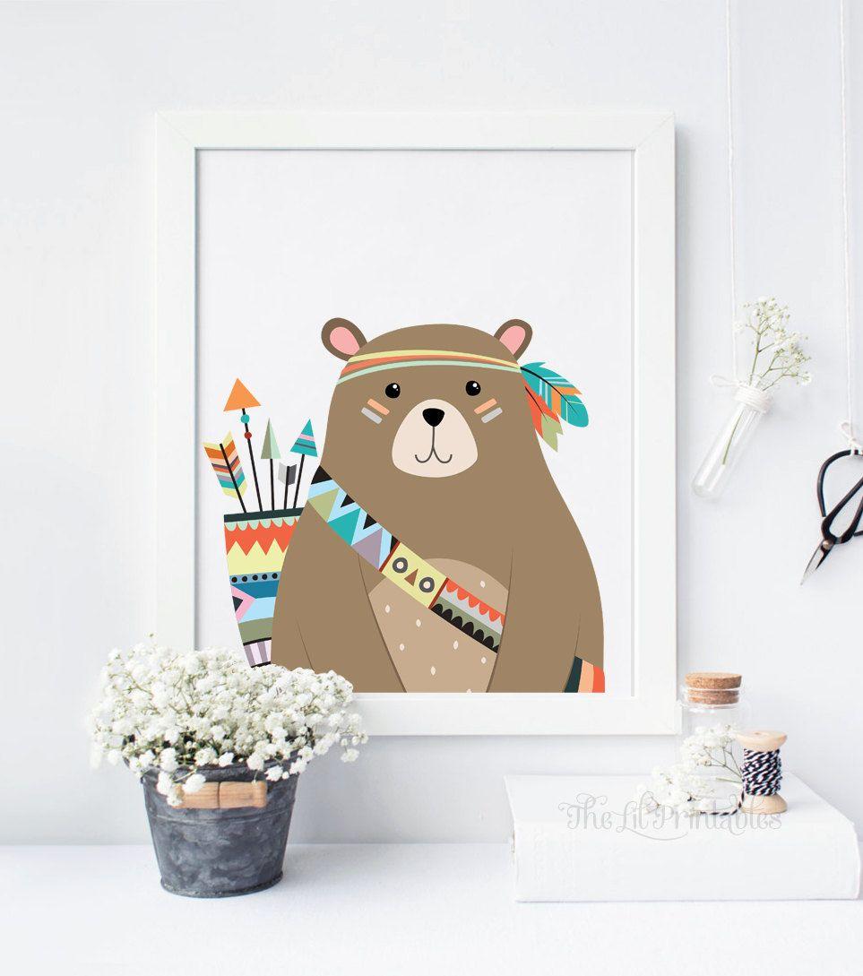 Bear Print, Bear Wall Art, Woodland Bear, Woodland Animal Print ...