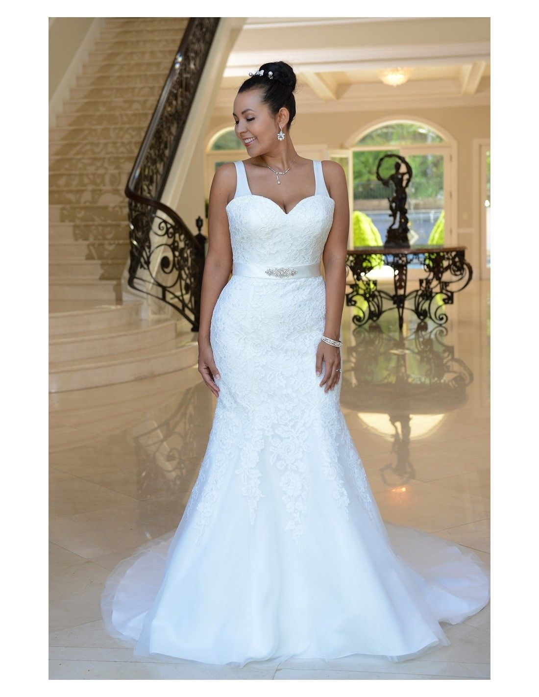 Simple lace fit n flare available at Spotlight Formal Wear! #SpotlightBridal