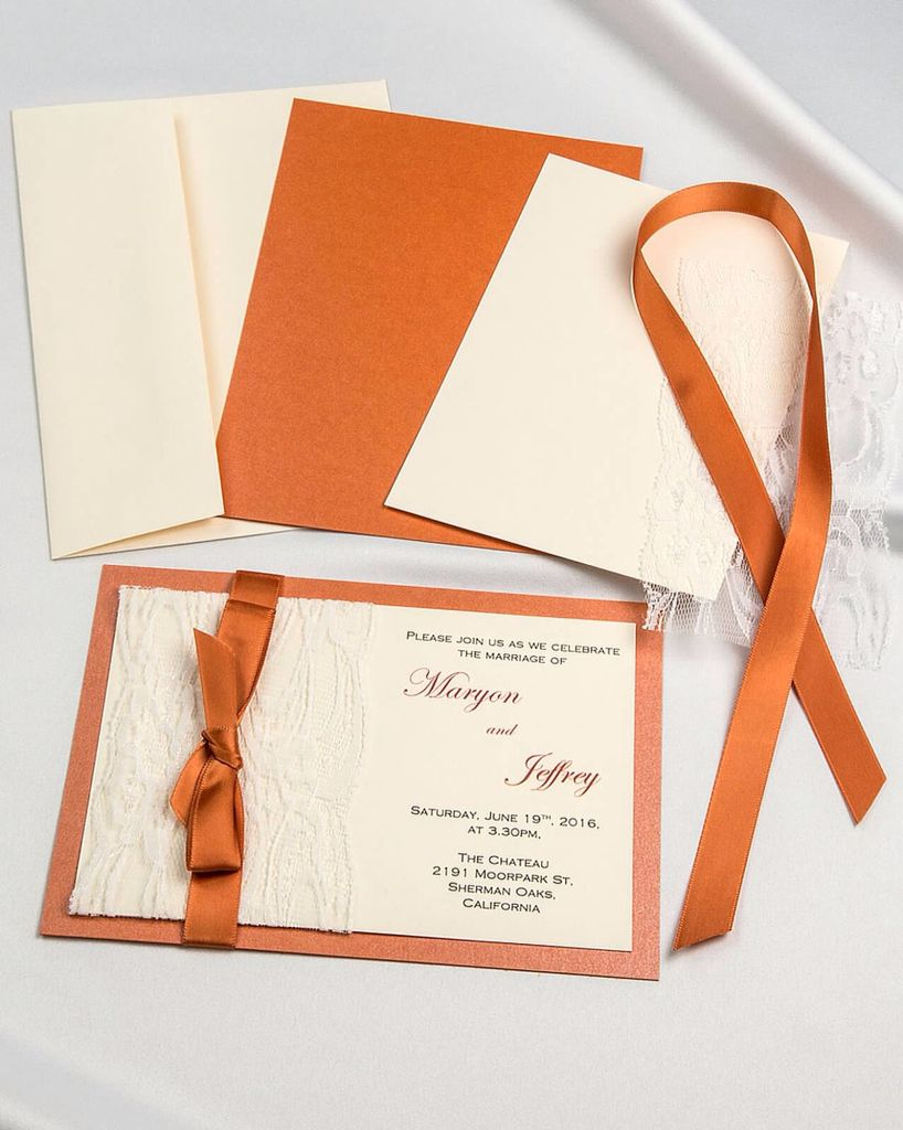 Flame real lace with satin ribbon diy invitations with cream flame real lace with satin ribbon diy invitations with cream envelope and invitation card stopboris Gallery