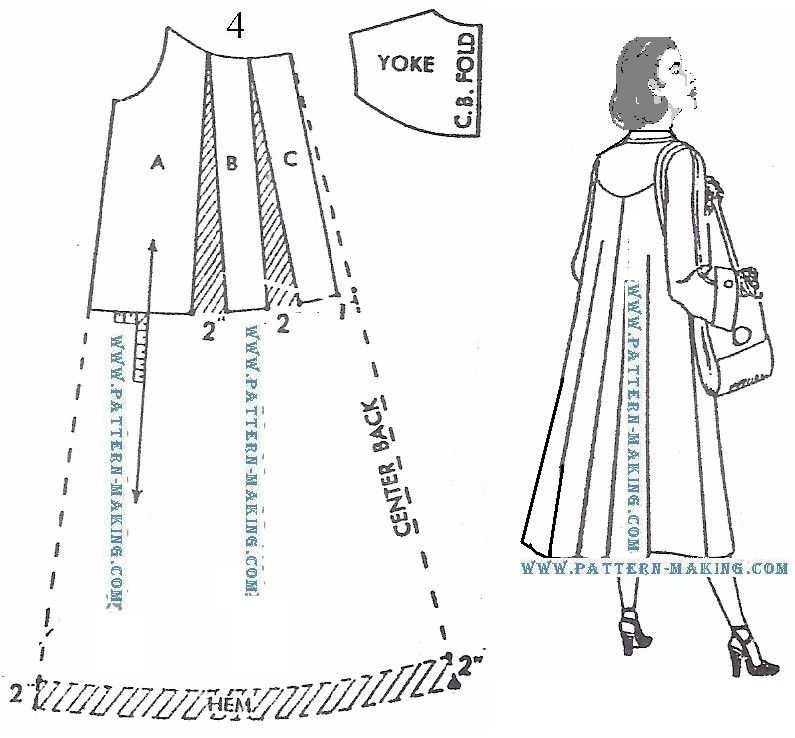 How to draft a coat pattern Makes a \'swing\' on the back of the coat ...