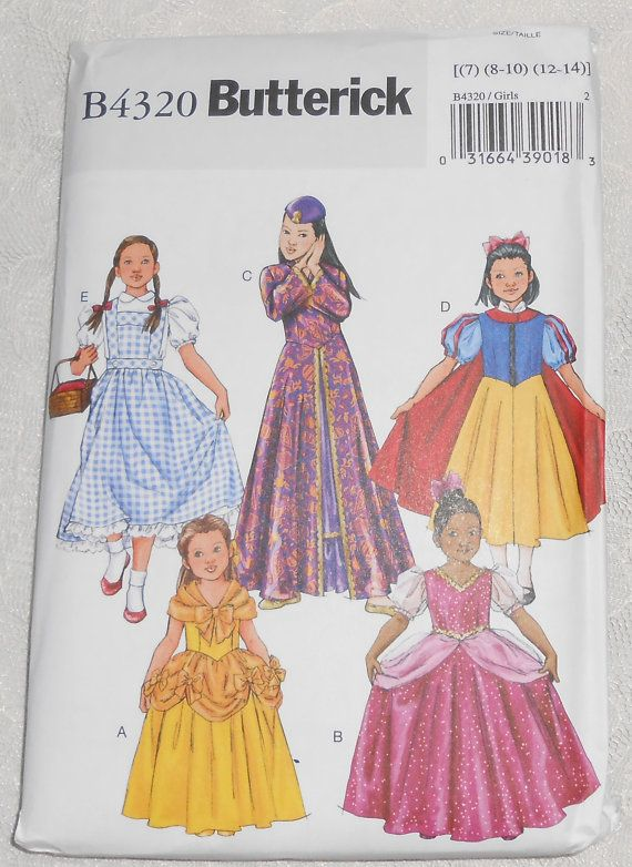 Butterick B4320 Sewing Pattern Classic Characters Snow White ...