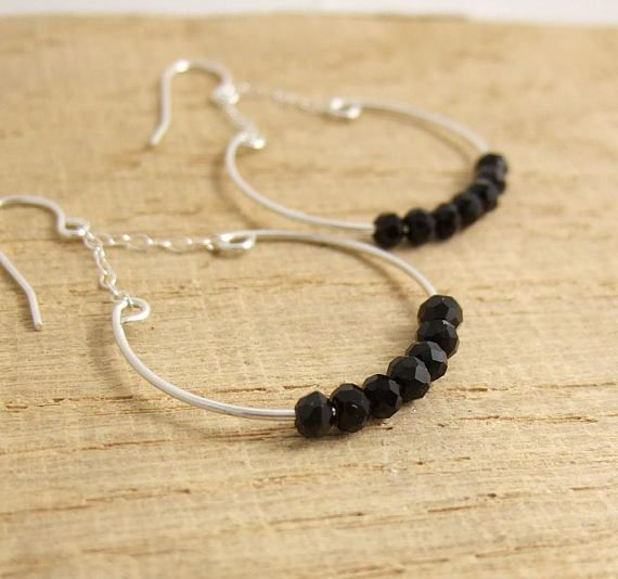 Earrings with a Half Circles Chain and Black Crystal Beads