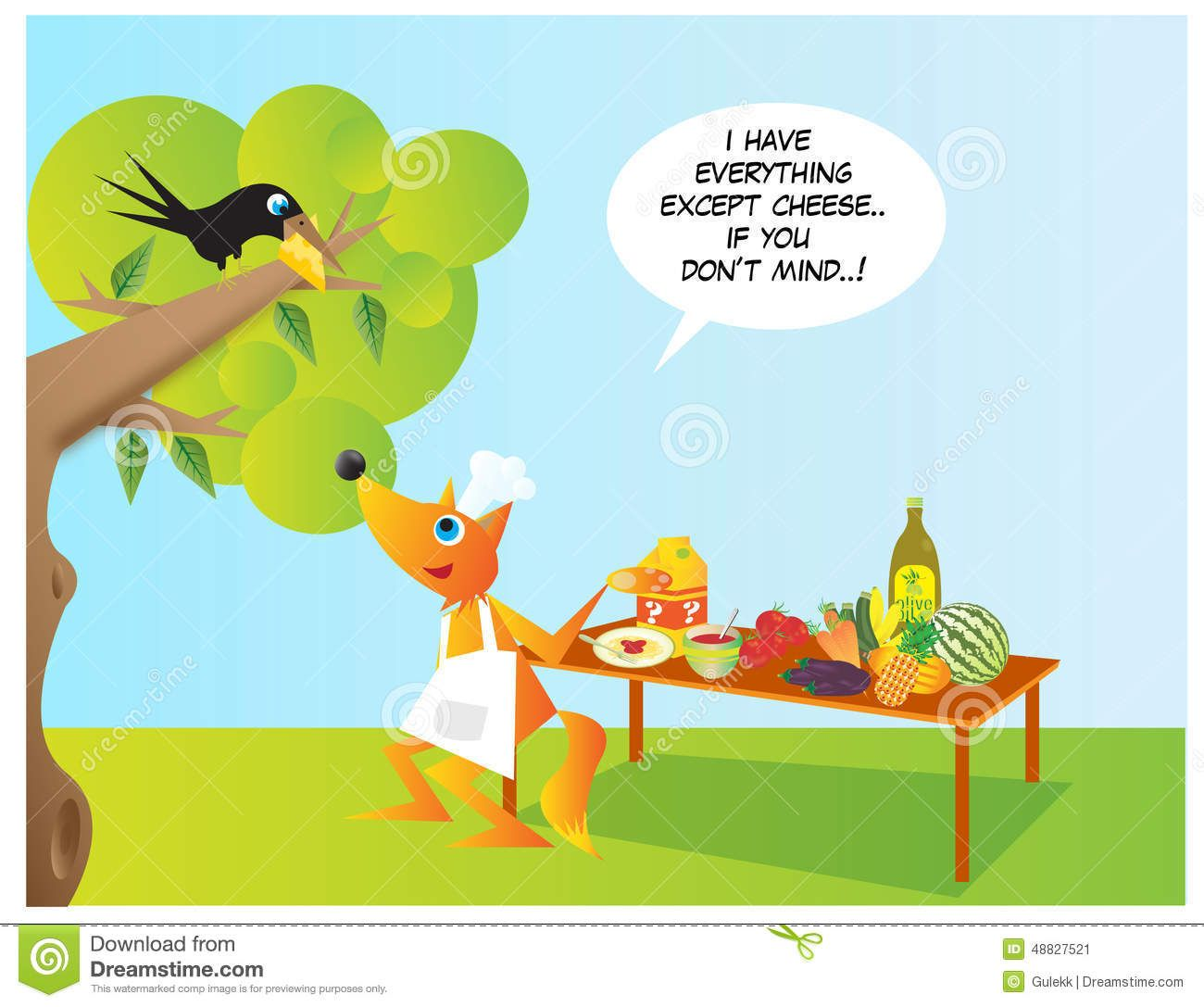 Fox And Crow Stock Illustration - Image: 48827521