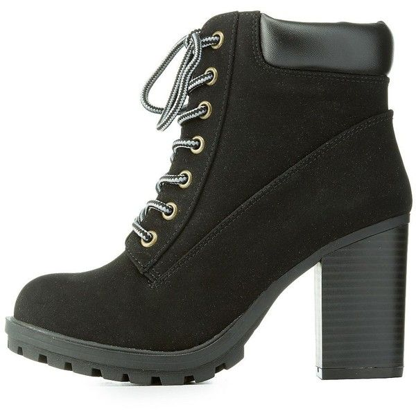 887fdeb94636d Charlotte Russe Chunky Heel Combat Boots (185 BRL) ❤ liked on Polyvore  featuring shoes