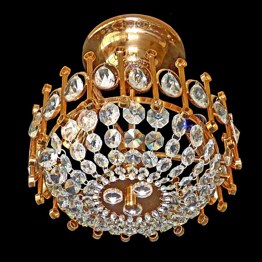 Luxury gold plated 24kt bohemian crystal flush mount italian luxury gold plated 24kt bohemian crystal flush mount italian vintage chandelier arubaitofo Images