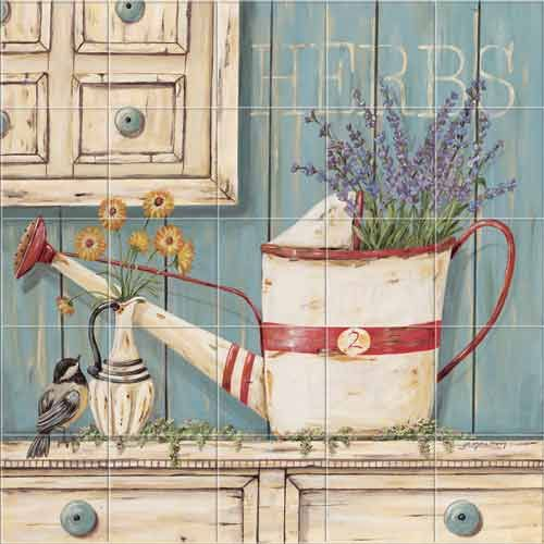 Farm Style Country Rustic Herbs Kitchen Backsplash Tile Murals Accent Tiles